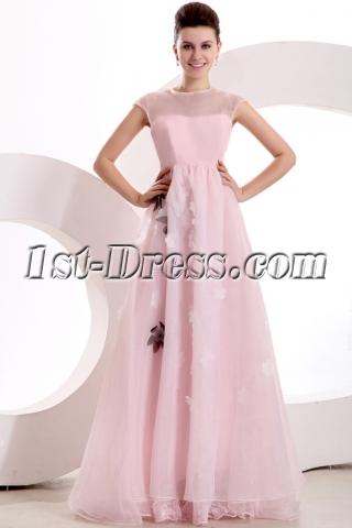 Modest Cap Sleeves Pink Organza Long Evening Dress