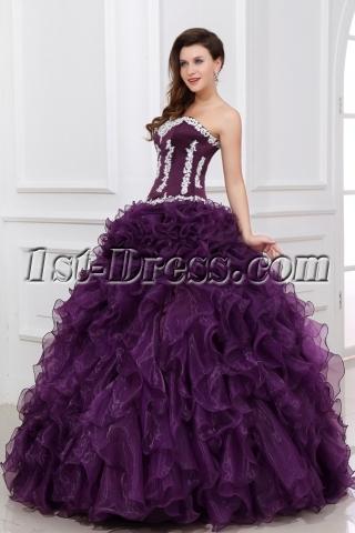 New Style Dark Purple Ruffled 2014 Quinceanera Dress