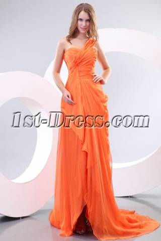 Orange Ladies Long Formal Evening Dress with One Shoulder