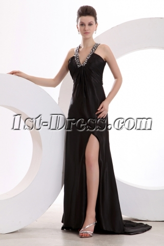 Plunge V-neckline Sexy Evening Dress with Backless