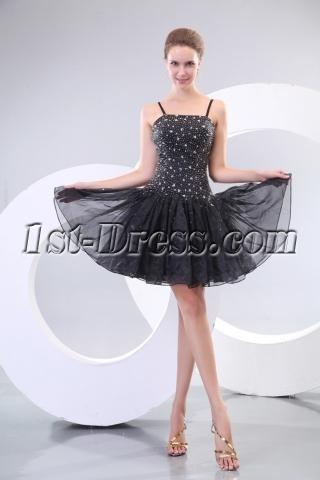 Popular Beaded Puffy Little Black Cocktail Dress