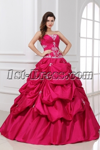 Pretty Discount Fuchsia Pick up Sweet 15 Ball Gown