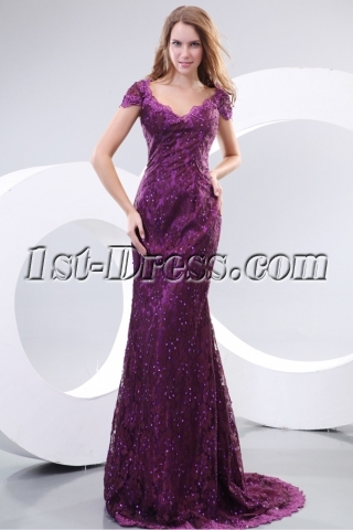 Pretty Purple Cap Sleeves Lace Evening Dresses for Mature Women