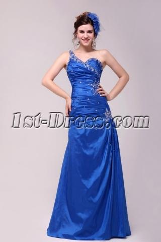 Pretty Royal Blue A-line Floor-length One Shoulder 2014 Prom Dress