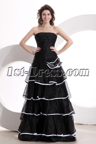 Pretty Strapless Black and White Floor Length Quinceanera Dress