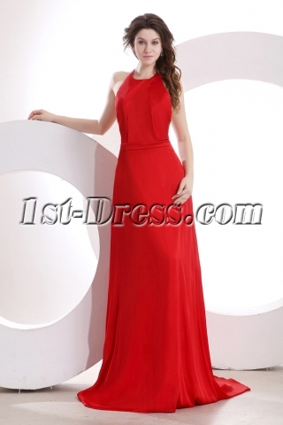 Red Backless Halter Pageant Dress with Train