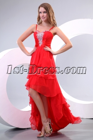 Red Unique Prom Dresses with High-low Hem