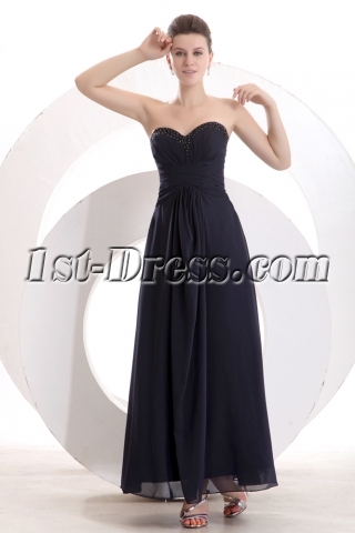 Romantic Ankle Length Navy Blue Military Evening Dress