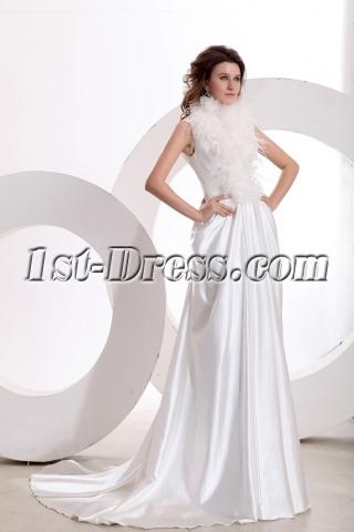 Romantic Feather High-Neckline Wedding Dress with Keyhole