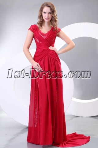 Romantic Formal Mother of Groom Dress with Cap Sleeves