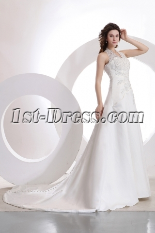 Romantic Halter Lace A-line Wedding Gown 99501