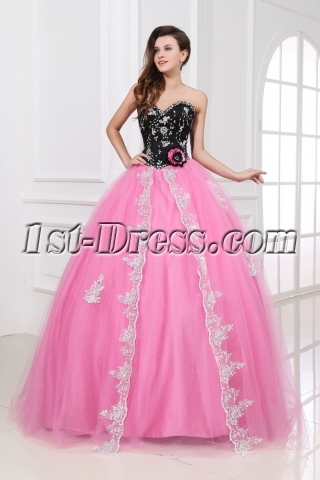 Romantic Pink and Black Sweetheart New Arrival Quinceanera Dress 2014