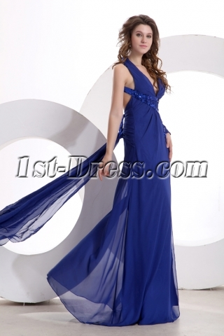 Royal Blue Sexy Long Sleeve Evening Dress with Plunge V-neckline