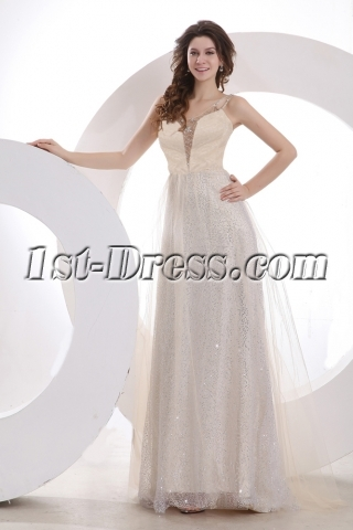 Sexy Champagne Straps Long Prom Dress