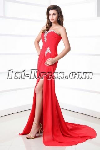 Sexy Red Slit Front One Shoulder Celebrity Dress