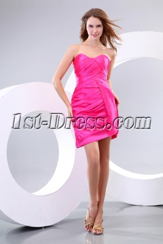Simple Hot Pink Mini Night Party Dress