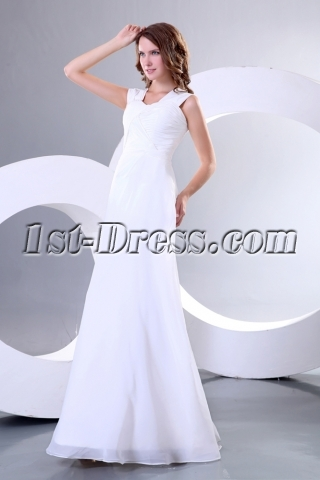 Simple Ivory Chiffon Long Second Wedding Dress for Reception
