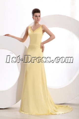 Simple Yellow Backless Satin 2014 Prom Dress with Train