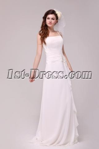 Spaghetti Straps Casual Wedding Dress for Beach Wedding