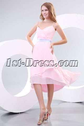 Spaghetti Straps Pink Short Prom Dresses Online