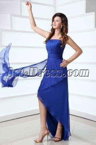 Special Asymmetric Royal Blue Graduation Dress