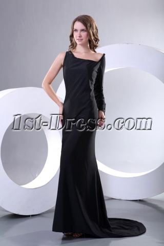 Special Black Long Sleeve Military Party Dress Cheap with Train