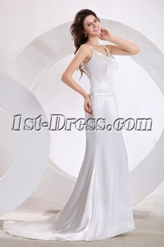 Straps Ivory Backless Wedding Dress for Spring