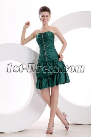 Superior Green Short Bubble Graduation Dress