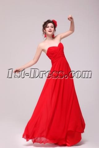 Sweet Red Chiffon Sweetheart Long Maternity Prom Party Dress