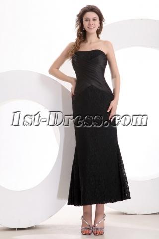 Sweetheart Simple Tea Length Black Lace Mother of Groom Dress