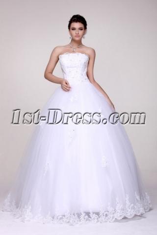 Traditional Strapless White 2014 Vestidos de Quinceanera