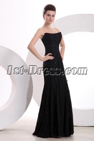 Unique Elegant Black Long Lace Prom Dress