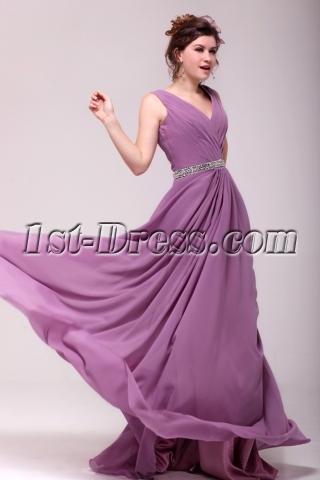 Vintage Lilac Chiffon V-neckline Plus Size Party Dress
