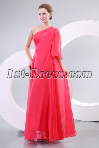Watermelon Long Sleeves Mother of Brides Prom Dress
