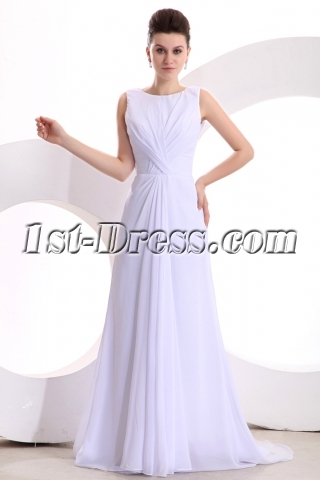White Elegant Chiffon A-line Long Prom Dress