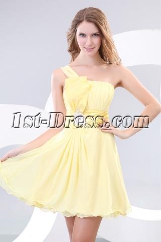 Yellow One Shoulder Short Pretty Graduation Dresses