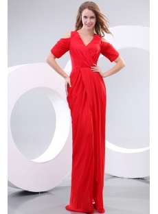 Amazing 80s Red Chiffon Short Sleeves Prom Dress