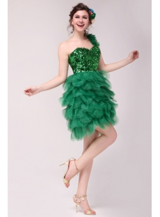 Attractive Green One Shoulder Sequins Short Cocktail Gown