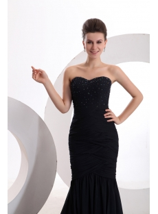 Attractive Navy Blue Mermaid Formal Evening Gowns with Train