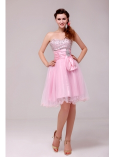 Beaded Pink Cocktail Dresses Knee Length