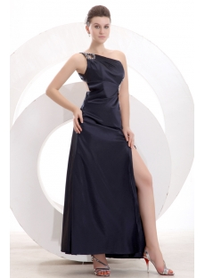 Black One Shoulder Slit Front Club Dress