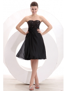 Black Sequins Knee Length Short Prom Dress