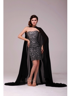 Black Sequins Short Celebrity Prom Dress with Cloak