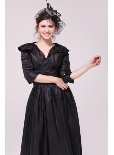Black Taffeta Middle Sleeves Mother of Groom Dress in Tea Length