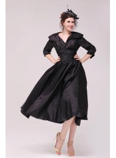 Black Taffeta Middle Sleeves Mother Of Groom Dress In Tea