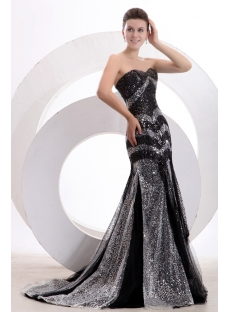 Black and Silver Sequins Sheath Long Formal Party Dress