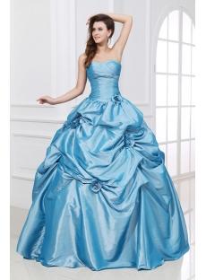 Blue Sweetheart Long Taffeta Best fête des quinze ans Dress
