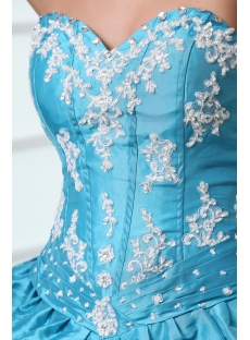 Blue Sweetheart Pick-up Corset Quince Dress at Cheap Price