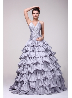 Brand New Silver Layered 15 Quinceanera Dress