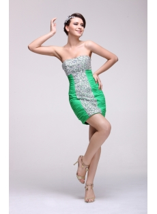 Brilliant Green Jeweled Mini Club Dresses